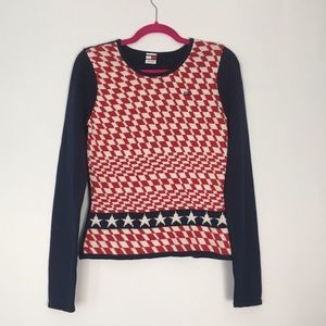 Tommy Hilfiger Red White Blue Patterned Sweater L